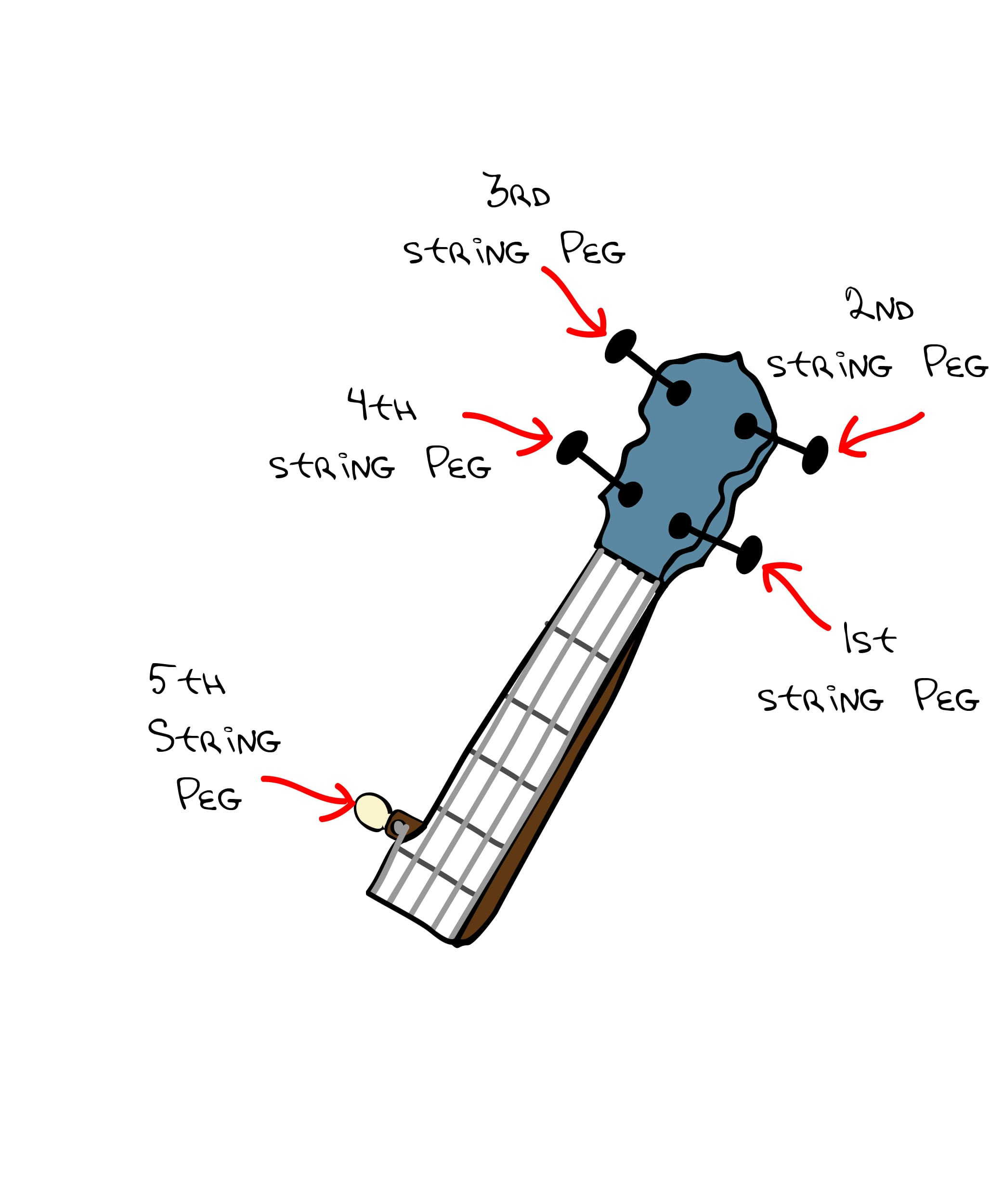 Diagram showing the names and positions of the tuning pegs on a five string banjo